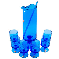 Italian Blue Glass Cocktail Pitcher & Glasses Set, The Hour Shop