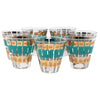 Vintage Fred Press Teal Gold Crowns Old Fashioned Glasses Front | The Hour Shop