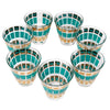Vintage Fred Press Teal Gold Crowns Old Fashioned Glasses Top | The Hour Shop