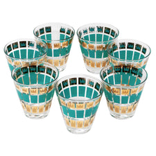 Vintage Fred Press Teal Gold Crowns Old Fashioned Glasses | The Hour Shop
