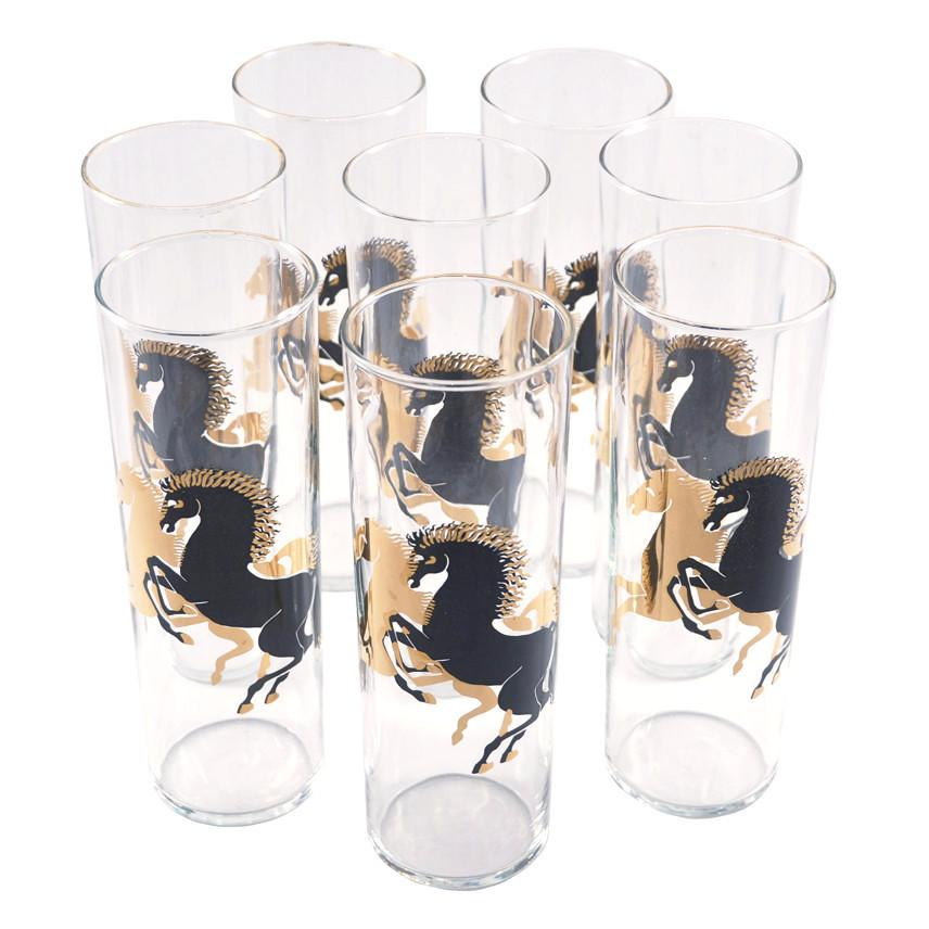 Black and Gold Stallions Collins Glasses | The Hour Shop Vintage