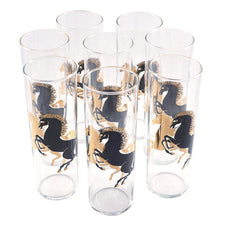 Vintage Black & Gold Stallion Horse Collins Glasses | The Hour