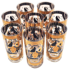 Vintage Fred Press Trojan Horse Black & Gold 8 Collins Glasses