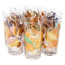 Vintage Gold & Pastel Fruits Collins Glasses | The Hour Shop
