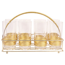 Gold Wrapped Collins Glass Caddy | The Hour Shop Vintage