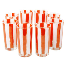 Orange & White Stripe Collins Glasses
