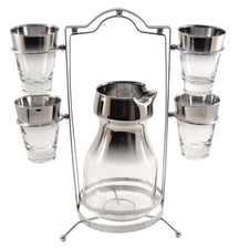 Vintage Mercury Cocktail Pitcher Caddy Set, The Hour