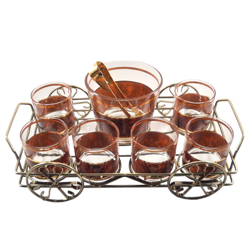 The Hour, Vintage Culver Tortoise Ice Bucket & Glasses Caddy Set