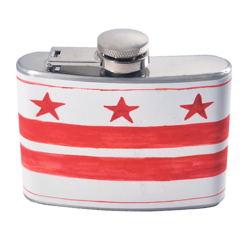 The Hour Shop, Red & White D.C. Flag Flask, Fast Snail Barware