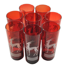 Vintage Art Deco Red Glass White Gazelle Collins Glasses