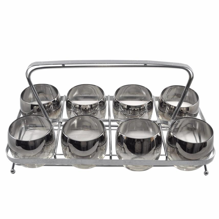 Vintage Mercury Fade Roly Poly Glass Caddy Set, The Hour Shop