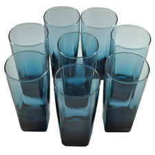 Blue Square Base Collins Glasses, The Hour Shop Vintage