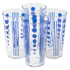 Vintage Art Deco Blue Polka Dot Collins Glasses | The Hour