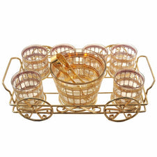 Vintage Culver Ice Bucket, Glasses Wagon Caddy, The Hour
