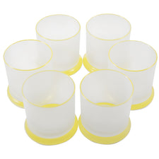 Vintage Yellow Trim Frosted Rocks Glasses | The Hour Shop