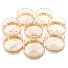 Frosted & Gold Roly Poly Glasses, The Hour Shop Vintage Glassware