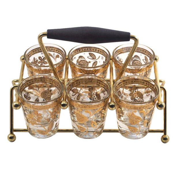 Vintage Culver 22k. Gold Shot Glass Caddy, The Hour