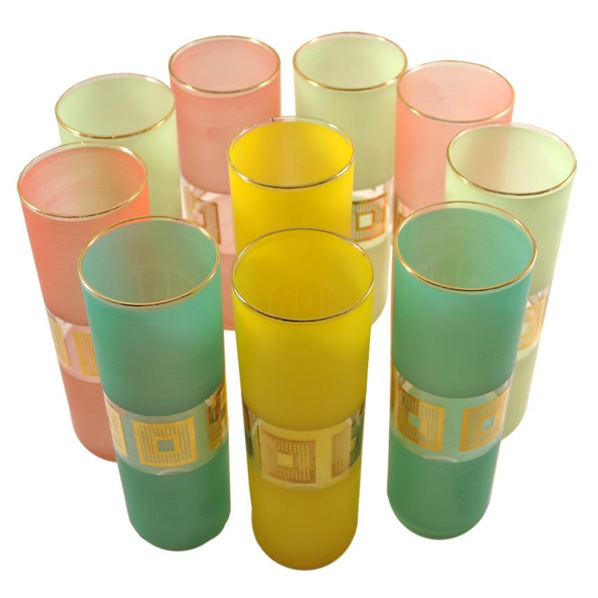 Vintage Handpainted Pastel, Gold Collins Glasses, The Hour