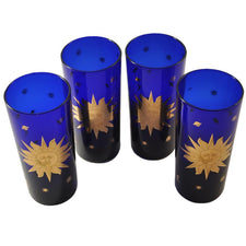 Culver Gold Sun Cobalt Blue Collins Glasses, The Hour Vintage
