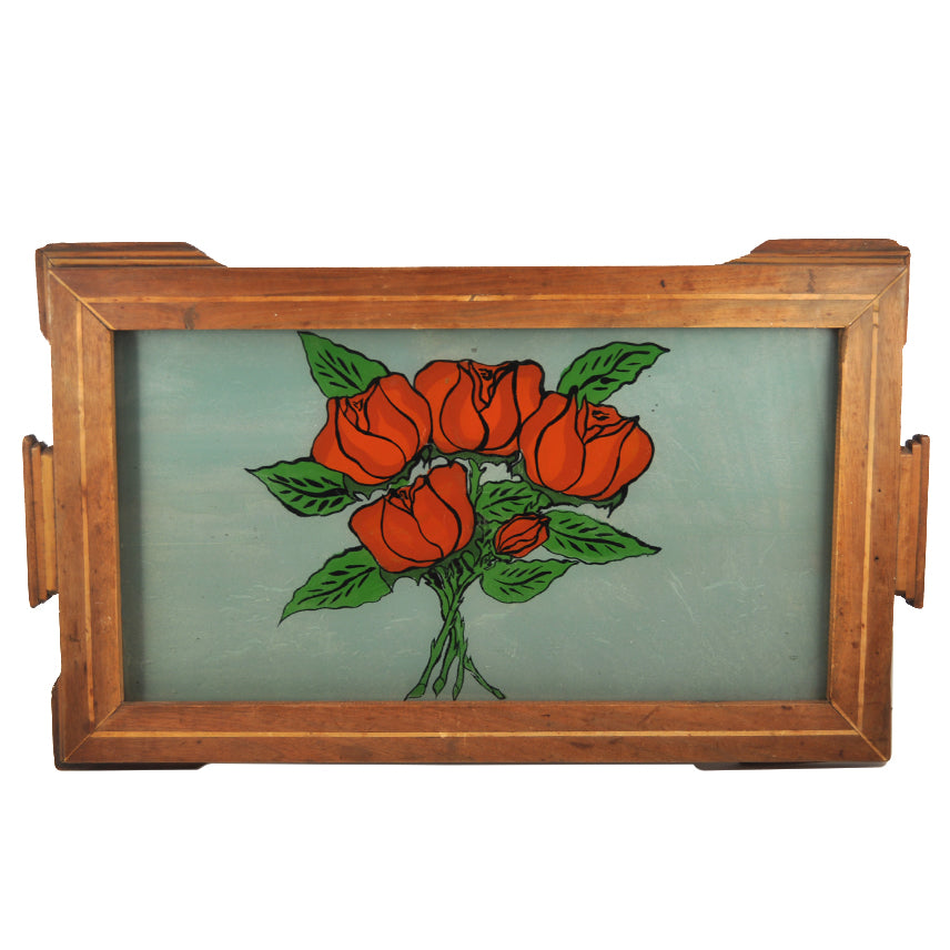 Reverse Painted Glass Red Roses Tray | The Hour Shop Vintage