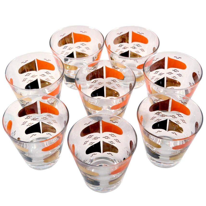 Orange & Gold Mod Double Old Fashioned Glasses | The Hour