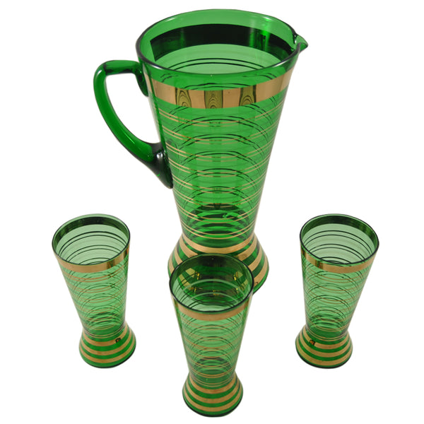 Vintage Bohemian Green & Gold Pitcher Set, The Hour Shop