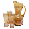 Vintage Bohemian Amber Cocktail Pitcher Set Full Pitcher View | The Hour Shop