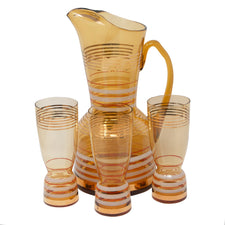 Vintage Bohemian Amber Cocktail Pitcher Set | The Hour Shop