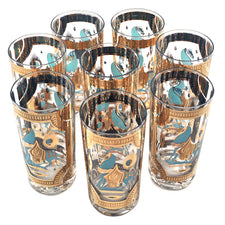 Vintage Fred Press Aqua & Gold Trojan Horse Collins Glasses | The Hour Shop