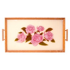 Vintage Reverse Painted Glass Pink Rose Tray | The Hour
