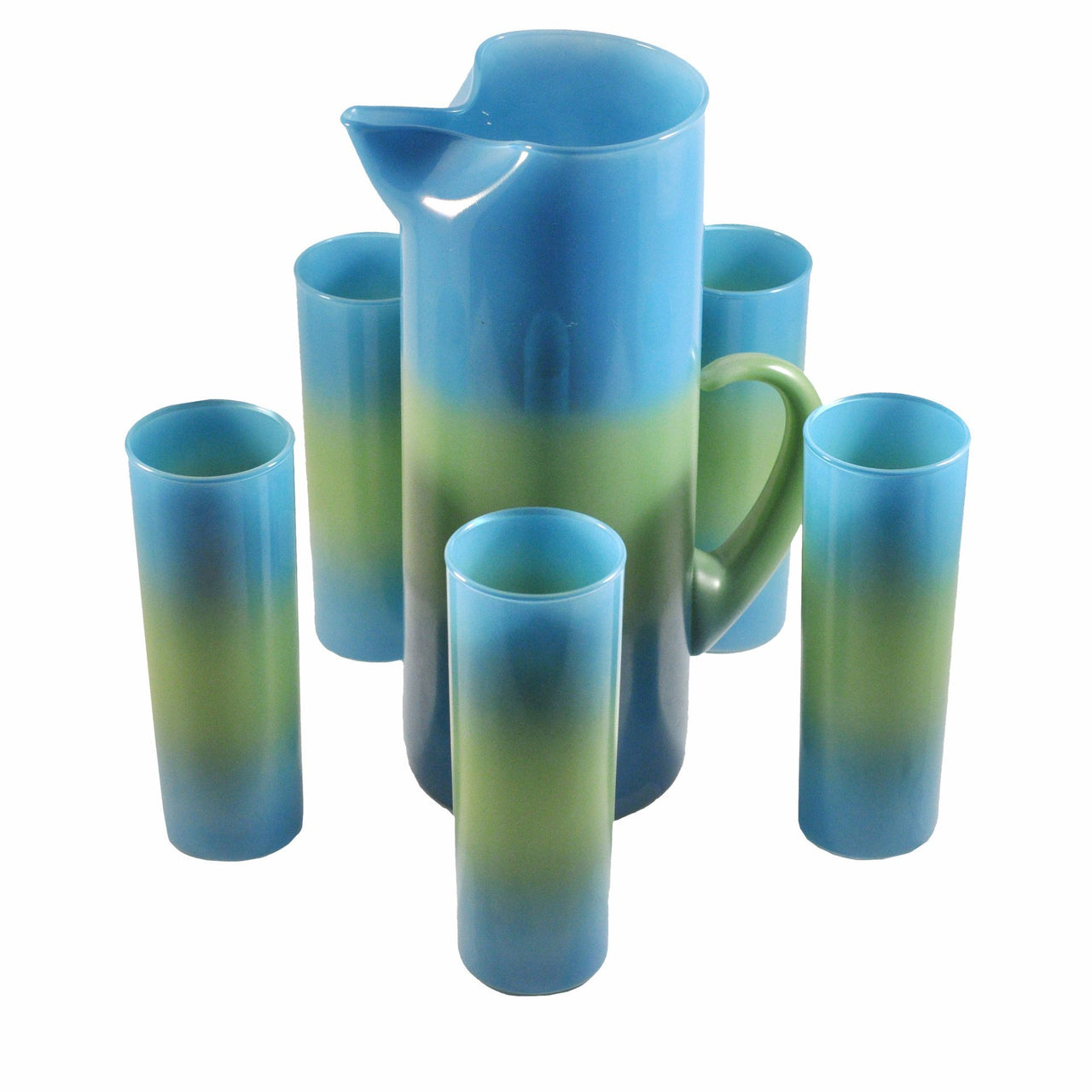 West Virginia Glass Blue & Green Pitcher Set | The Hour Vintage