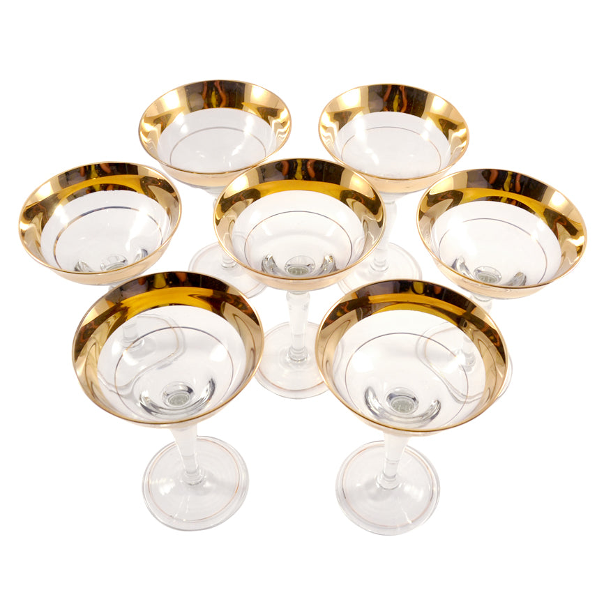 Gold Bands Cocktail Glasses