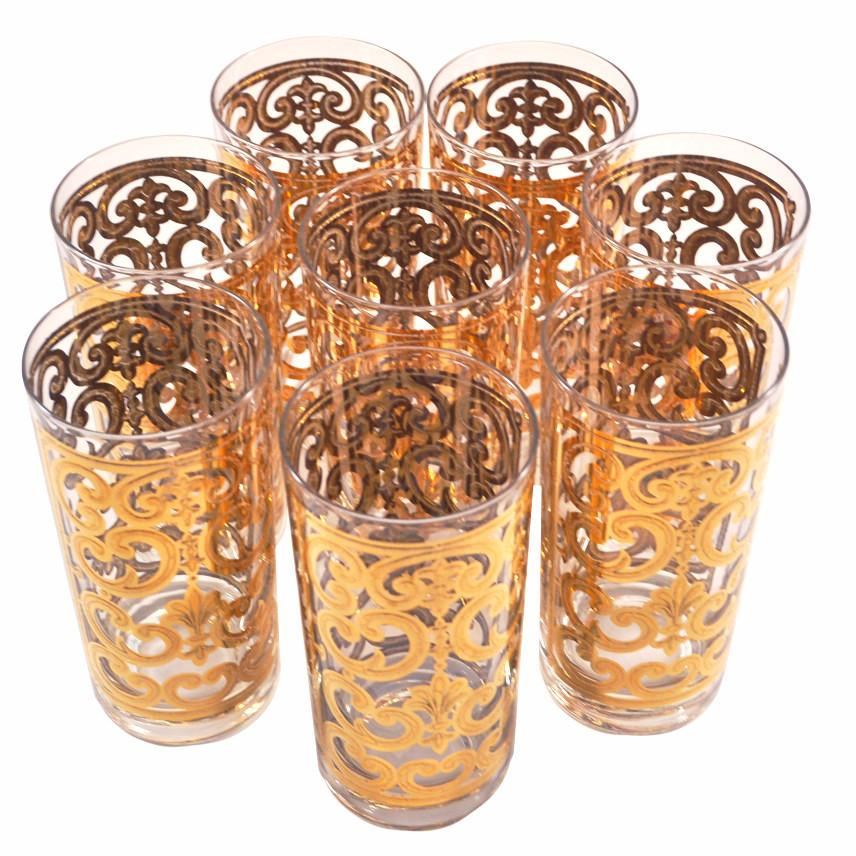 Vintage Georges Briard Gold Scrolls Collins Glasses | The Hour