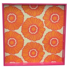 Orange & Pink Daisy Square Lacquer Tray, The Hour Shop