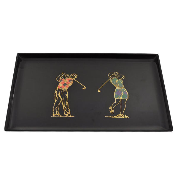 Vintage Couroc Golfers Golfing Tray, The Hour Shop
