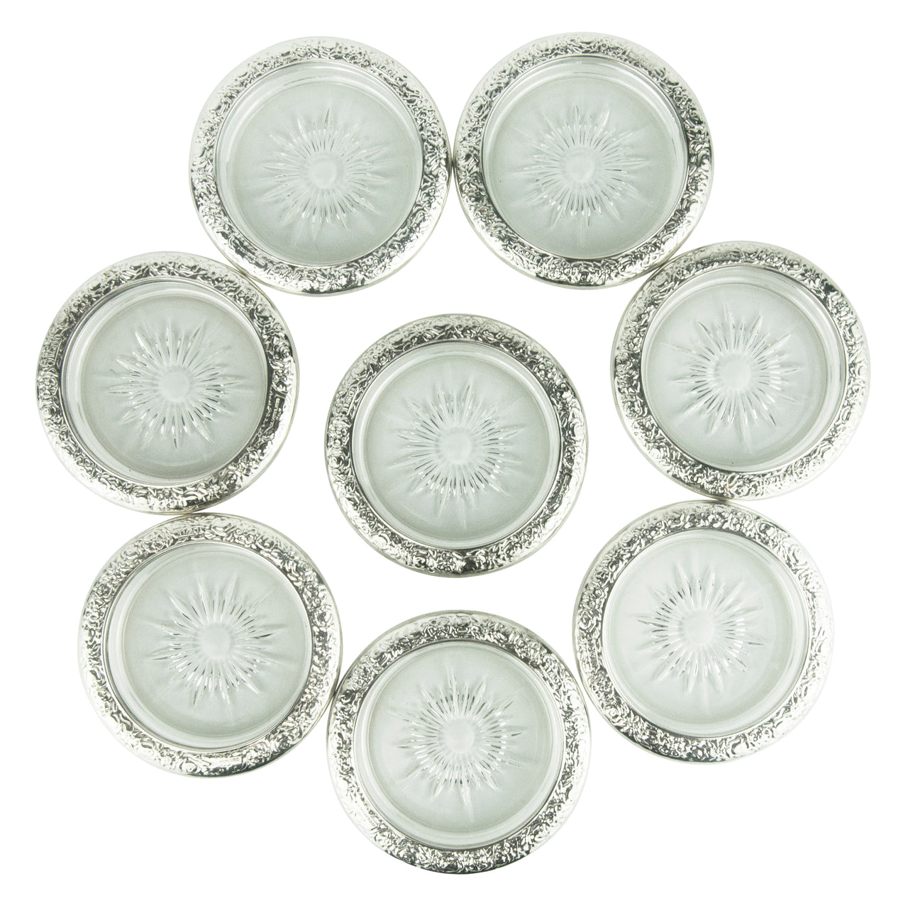 Vintage Towle Silver Plate Edge Glass Coasters | The Hour Shop