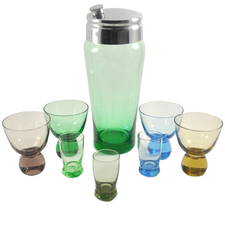 Vintage Green Glass Cocktail Shaker & Glasses, The Hour Shop