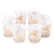 Fred Press White Cased Gold Rooster Rocks Glasses