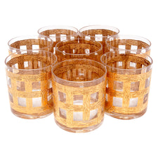 Georges Briard Woven Gold Rocks Glasses