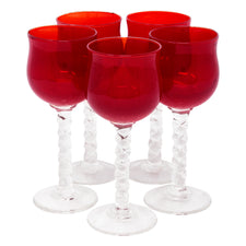 Vintage Cherry Red Tulip Cordial Glasses | The Hour Shop