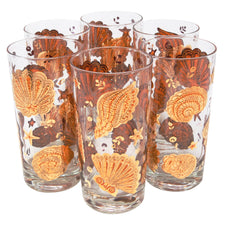 Vintage Culver Gold and Orange Seashells Collins Glasses | The Hour Shop