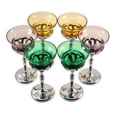 Morgantown Glass Insert Chrome Stems | The Hour Shop Vintage