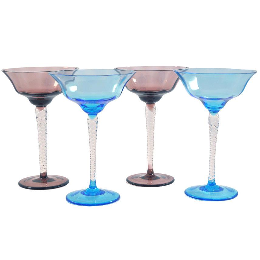 Amethyst & Blue Cocktail Glasses | The Hour Shop Vintage