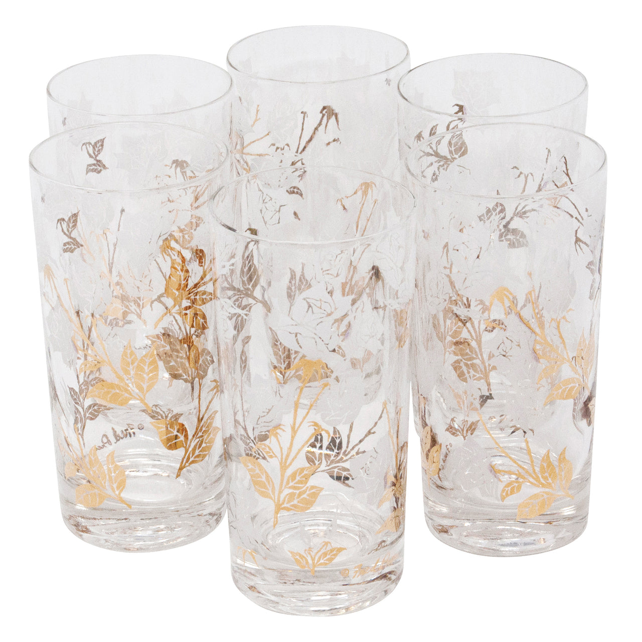 Fred Press White and Gold Rose Collins Glasses | The Hour Shop