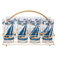 Vintage Federal Glass Slate Blue Sailboat Collins Caddy Set | The Hour Shop