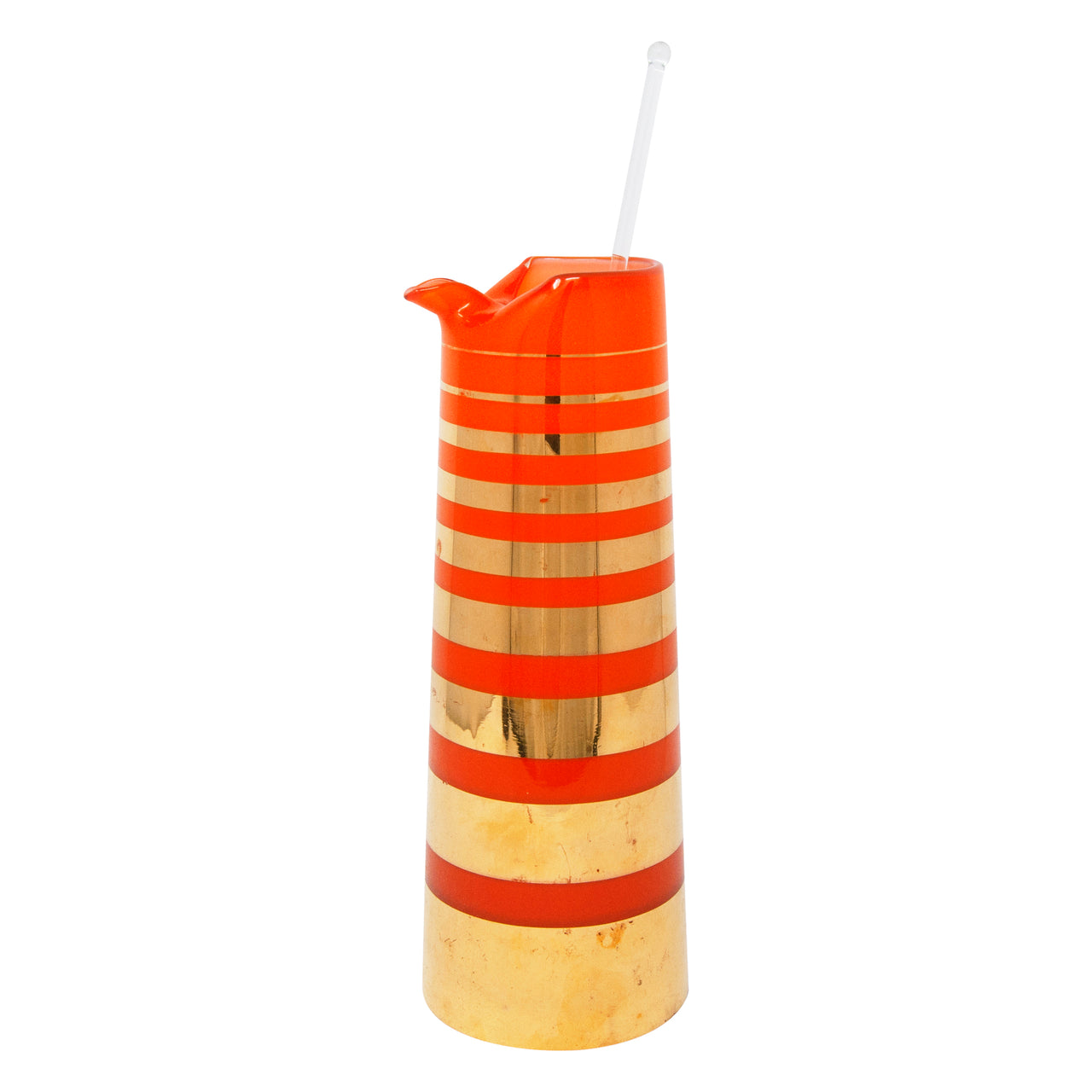 Vintage Orange and Gold Stripe Cocktail Pitcher and Stirrer | The Hour Shop