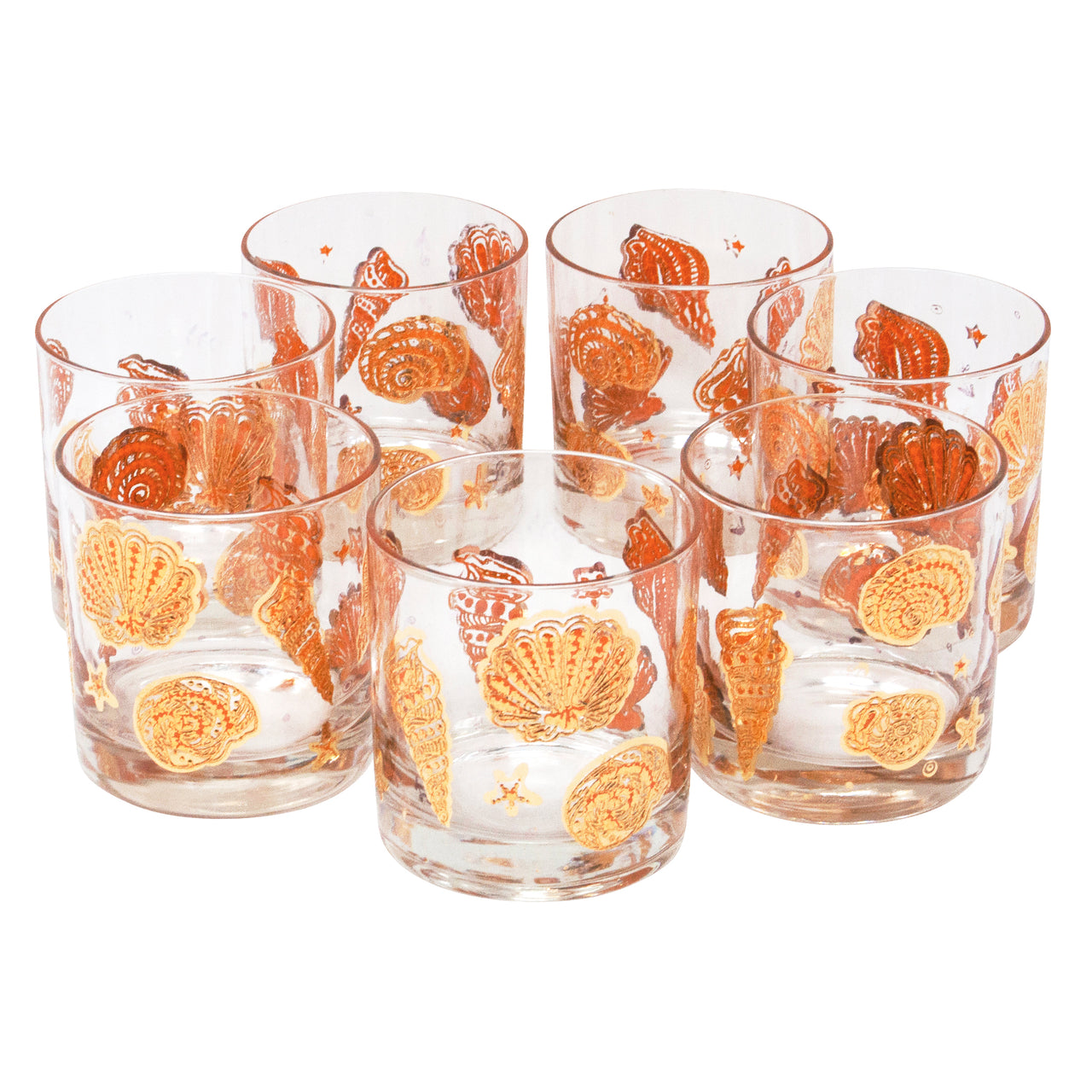 Vintage Culver Gold and Orange Seashell Rocks Glasses | The Hour Shop