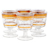 Vintage Brushed Gold Band Applied Glass Raindrops Cocktail Glasses Front View | The Hour Shop