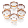 Vintage Brushed Gold Band Applied Glass Raindrops Cocktail Glasses Top View | The Hour Shop