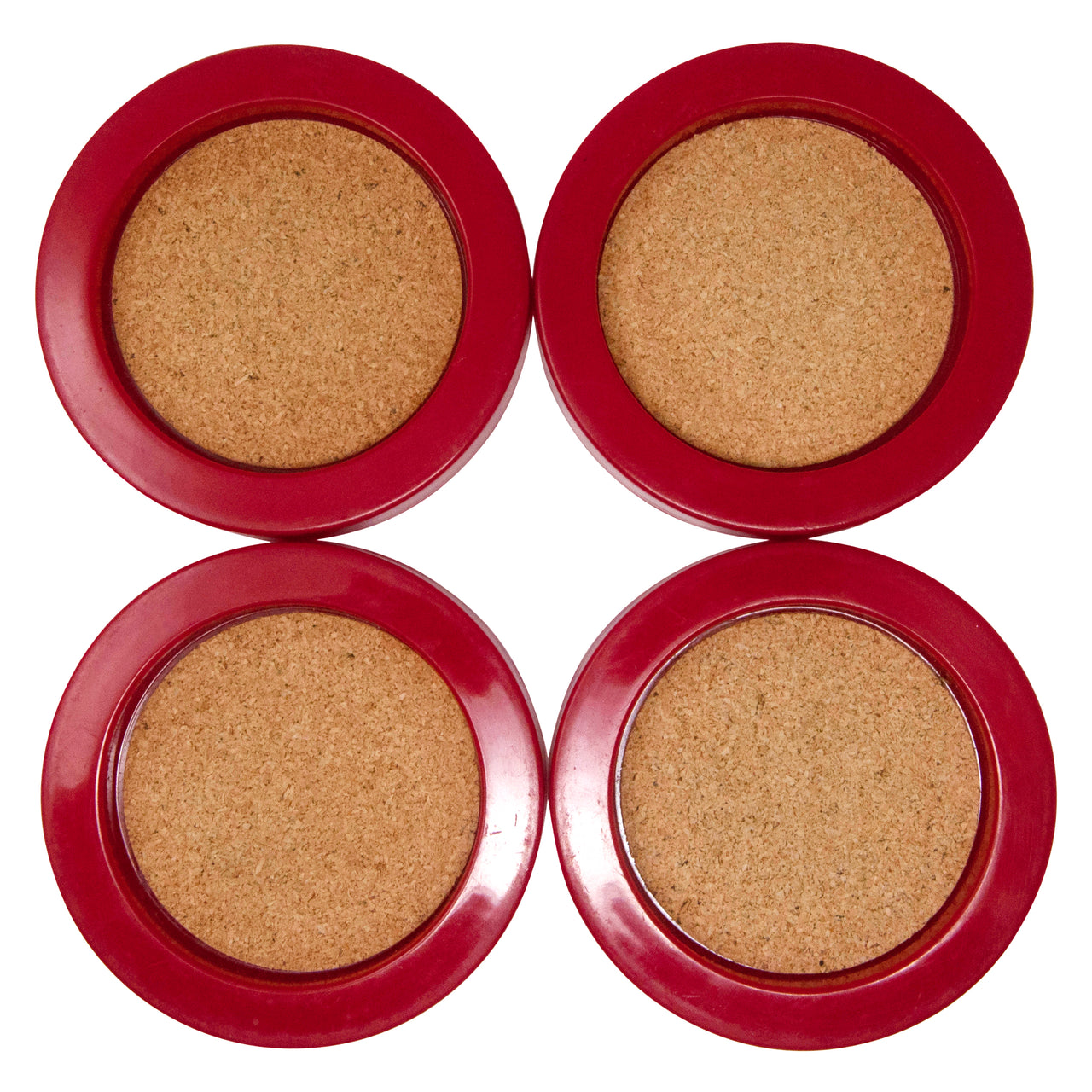 Vintage Georges Briard Red & Cork Coasters | The Hour Shop